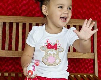 Girl's Christmas Reindeer Applique Shirt, Reindeer Applique Shirt, Reindeer Shirt, Christmas Shirt, Winter Applique Shirt, LDM