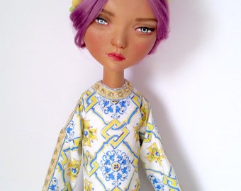"OOAK Fashion Art Doll in Paperclay ""Marcella"" Dolce Inspired"