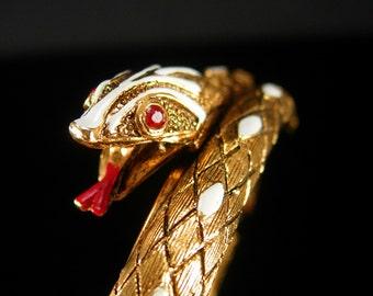 Cleopatra's delight Snake Bracelet Enamel & Rhinestone hinged serpent gold Egyptian Queen Protection deities Art deco design bangle