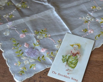 Vintage Silk Hankie with Embroidered Flowers & Brooklets Song Booklet