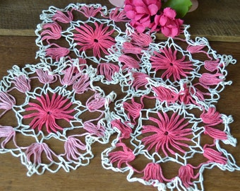 "4 Vintage Pink & White Hand Crocheted 8"" Doilies"