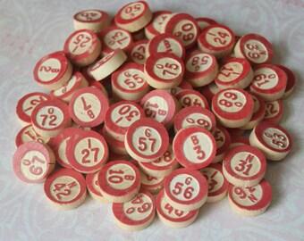 72 Vintage Wood Bingo Call Numbers Markers Lot