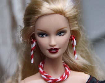 Peppermint Candy Cane Twist Necklace Bracelet Earring Fashion Doll Jewelry Set fits 11 1/2-12 inch & 1/6th Scale Female Dolls
