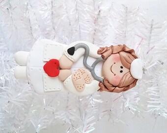 Nurse Christmas Ornament  -  Polymer Clay Christmas Ornament - Nurse Gift - Female Nurse Ornament - Polymer Clay Nurse Ornament  -  7159