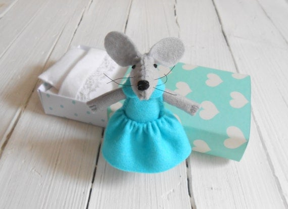 Little felt woodland creature mouse decoration for a woodland nursery baby shower gift tiny matchbox bed stuffed felt animal kids birthday