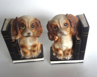 Vintage Dog Bookends Coin Bank Cocker Spaniels Leaning On Books 6 Inches Tall X 4 Inches Wide Some Wear