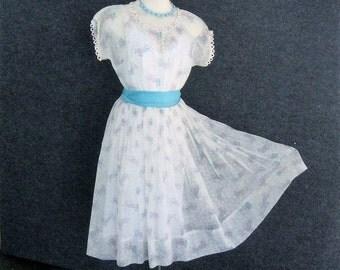 """50s Vintage Nylon Dress & Full Slip Set, Sheer White Dress Turquoise + Pink Novelty Hat Print, Full Skirt, Summer Dress Fit FlareBust 33 34"""""""