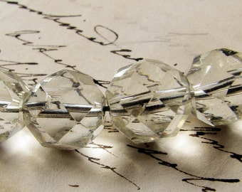 large clear crystal glass beads - vintage 1930s hand faceted- Art Deco period - 5 beads