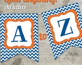 Florida Go Gators Chevron Printable Banner, Letters A-Z + Numbers