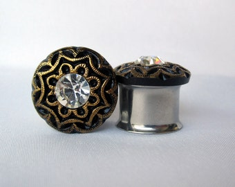 "Pair of Black Gilded Button Plugs - Handmade Girly Gauges - Formal  - Bridal - 1/2"", 9/16"", 5/8"", 3/4"" (12mm, 14mm, 16mm, 19mm)"