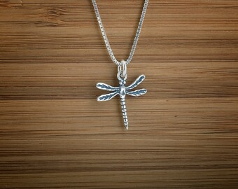 Tiny Dragonfly - STERLING SILVER - (Charm, Necklace, or Earrings)