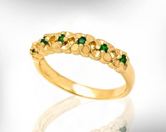 18k emerald wedding band emerald wedding ring for women may birthstone wedding ring - Emerald Wedding Ring