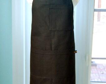 Black Cotton Shop Waiter's Chef's Apron - sturdy denim full apron with multiple pockets