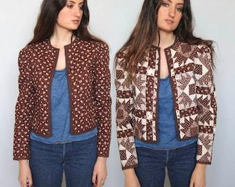 folk forever -- vintage quilted calico cotton reversible jacket S