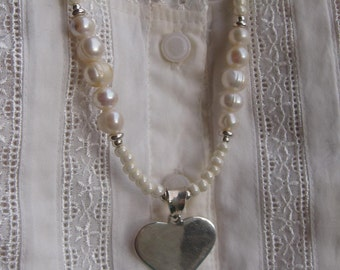 fatdog Necklace - N107 Suzanne's Pearls with Heart