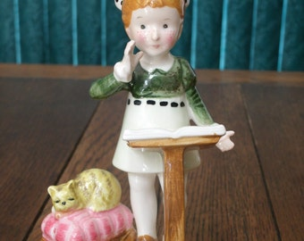"""Vintage American Greetings Girl and Cat Figurine """"Start Today On A Happy Note"""""""