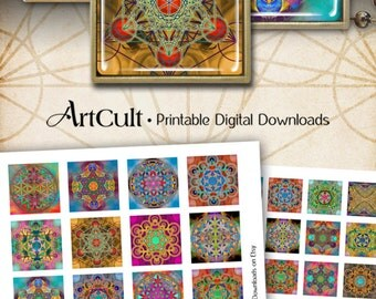 """1""""x1"""" and 1.5""""x1.5"""" Images SACRED GEOMETRY ORNAMENTS Flower of Life Metatron's Cube Printable Digital Downloads for pendants magnets bezels"""