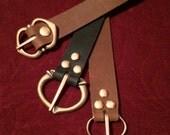 Long Leather Belt- Medieval, men's women's Renaissance costume Pirate Steampunk brass buckle, brown/black  SCA Garb, LARP, Festival, faire