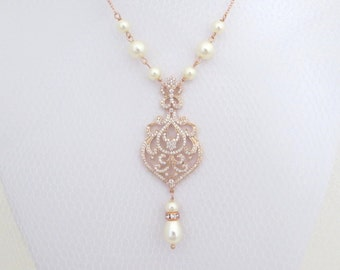 Rose Gold necklace, Rose gold Bridal necklace, Crystal Wedding necklace, Bridal jewelry, Pearl necklace, Pendant necklace, Vintage, AMELIA