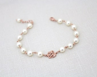 Rose Gold Bridal bracelet, Rose Gold Bridesmaid bracelet, Pearl Wedding bracelet, Flower girl bracelet, Pearl bracelet, Bridal jewelry