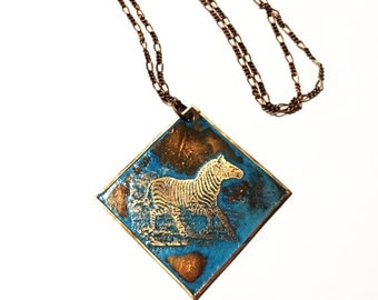 Etched Copper Necklace Zebra with Patina