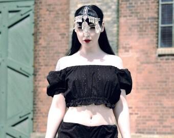 Black Gypsy Top, Vintage Top, Retro Clothing, Pin Up Top, Off the Shoulder, Festival Fashion, Rockabilly Top, Retro Crop Top