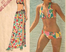 Bikini Bra Halter Top Beach Cover Up Maxi Length Skirt Bathing Suit Vintage 1970s Simplicity 5644 Sewing Pattern Size Small 8 10