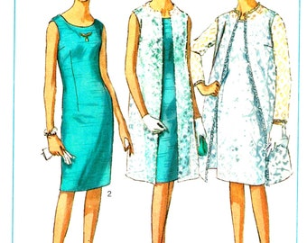 Misses Lace Coat, Slim Dress  Vintage 1960s Simplicity 6388 Sewing Pattern Size 14 Bust 34 Back Facing Piece Missing