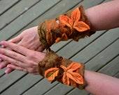 Felt Forest Nymph Autumn Fairy Woodland Leaf Pointed Pixie Matching Wrist Cuffs OOAK