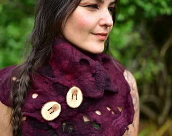 Felt Melted Wine Red Pixie Woodland Neck Cowl Scarf Shawl OOAK