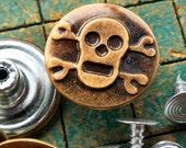 10 Skull Tack Buttons, large, 20mm, Bronze Tone, no sew, Skull & Crossbones, metal, jean jacket type, pirate, steampunk