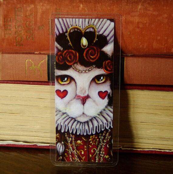 Queen of Hearts Cat Bookmark Alice in Wonderland Cat Bookmark