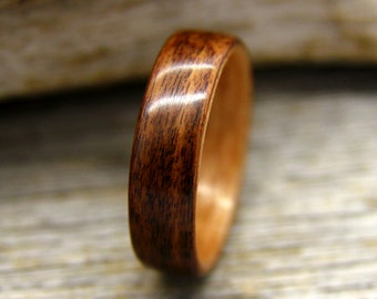 Bentwood Ring - Santos Rosewood Wooden Ring with Birch Lining - Handcrafted Wood Wedding Ring - Custom Made