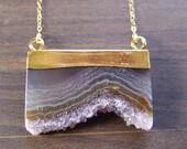 Amethyst Stalactite Druzy Gold Necklace OOAK