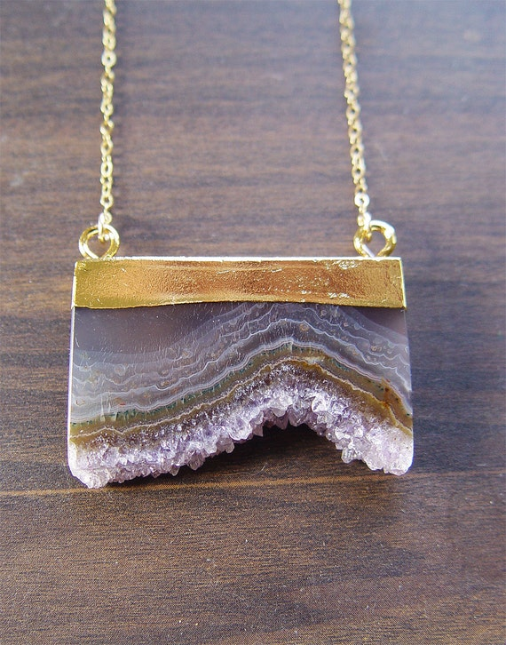 Amethyst Stalactite Druzy Gold Necklace OOAK