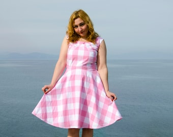 Pink Gingham Retro Dress, Vintage Inspired 50s Summer Cotton Dress