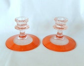 depression glass candleholders, set of two, rare color combination,  pink orange, vintage home decor