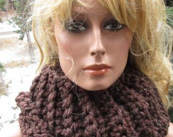 Cowl Scottish Highlander Inspired Dark Brown Wool Blend Thick Moebus Infinity
