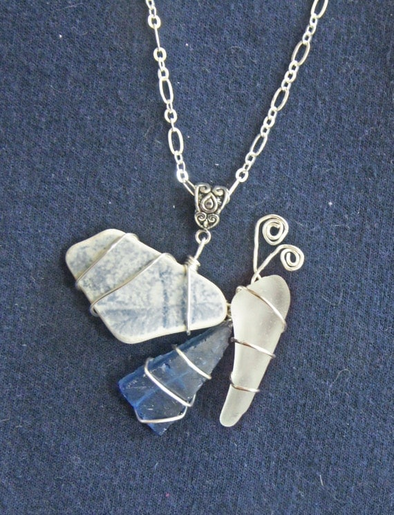 Sea Glass and Sea Pottery Butterfly Pendant and Necklace in Blue and White, with Patterned Sea Pottery