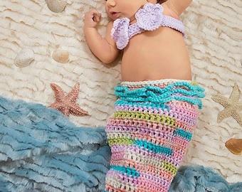 Pink Lavender and Turquoise Newborn Mermaid Halloween Costume, 0 to 3 month Mermaid Beach Photo Prop