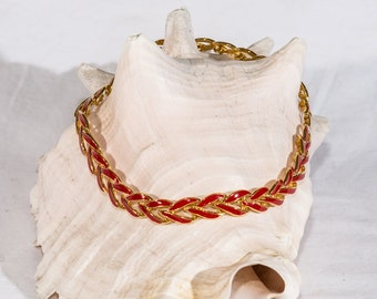 Vintage Napier necklace red enamel gold tone mid century links signed