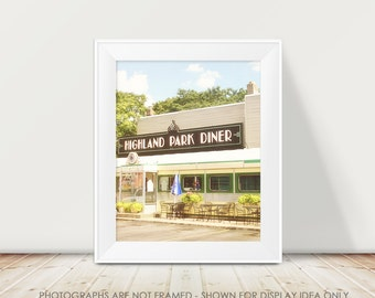 Diner Photography, Mid-Century Modern Diner Photograph, Retro, Blue Pastel Brown, Kitchen Art, Rochester New York, Neon Sign Photograph, Art