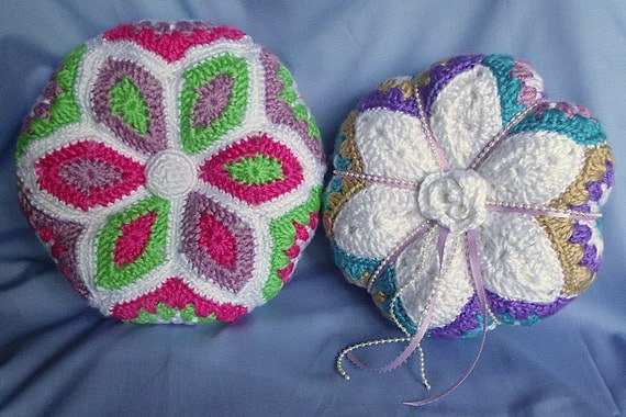 Crochet Flower Pincushion Pattern : Crochet Flower Pillow Pattern Star applique flower pincushion