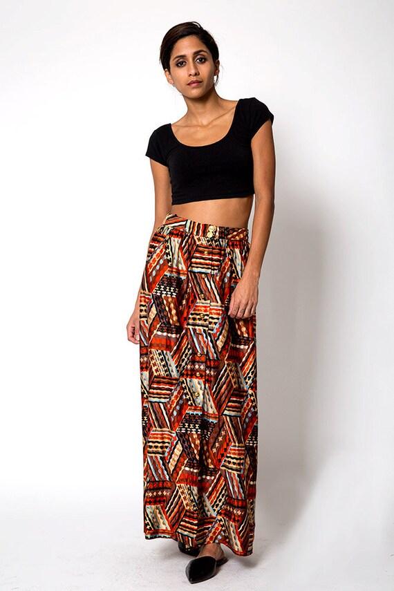 the vintage aztec print maxi skirt