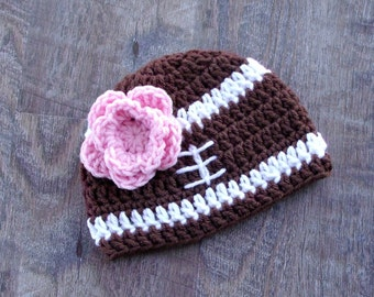 Crochet Football Baby Girl Hat, Baby Football Hat, Newborn Baby Girl Football Baby Shower Gift