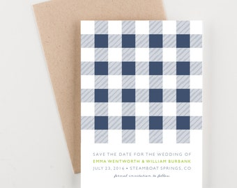 Buffalo Check Save The Date, Blue and Green, Wedding Announcement
