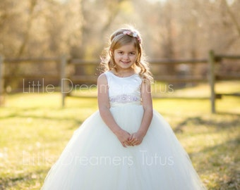NEW! The Juliet Dress in Ivory with Rhinestone Sash - Flower Girl Tutu Dress