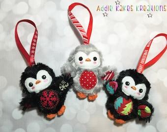Adorable Custom Miniature Christmas Penguin Plush Ornament / You Choose Fabrics!