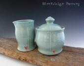Pottery Cream and Sugar Set in Light Turquoise - Lidded Jar - Small Pitcher - by DirtKicker Pottery