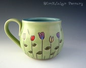 Pottery Mug in Lime Green with 5 Flowers - Coffee Mug - Large Mug - by DirtKicker Pottery